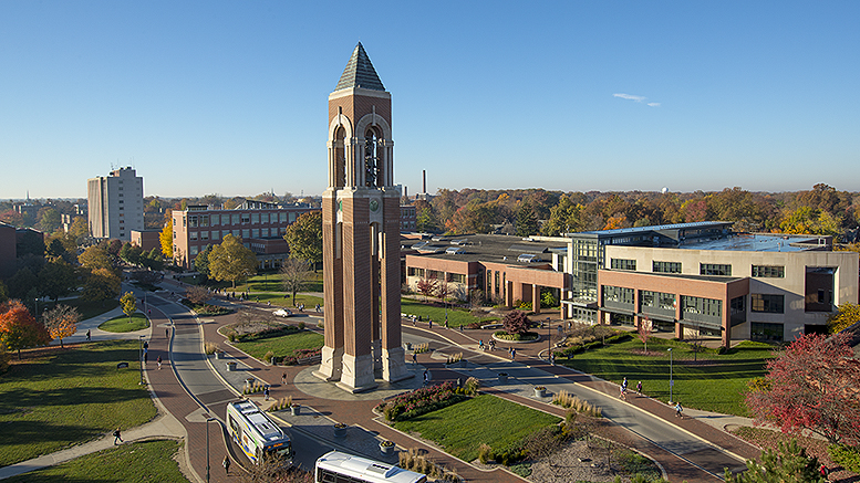 Aerial view of the Ball State Campus. Photo by: BSU Photo Services