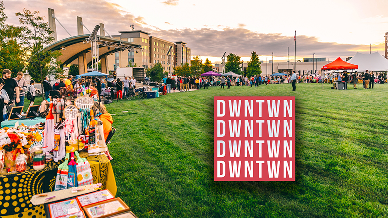 Vendor tents surround Canan Commons in downtown Muncie. Photo by: Intersection Agency