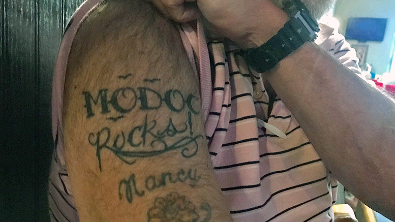 'Modoc Rocks' says in ink what the drummer's folks believe. Photo by: Katie Carlson