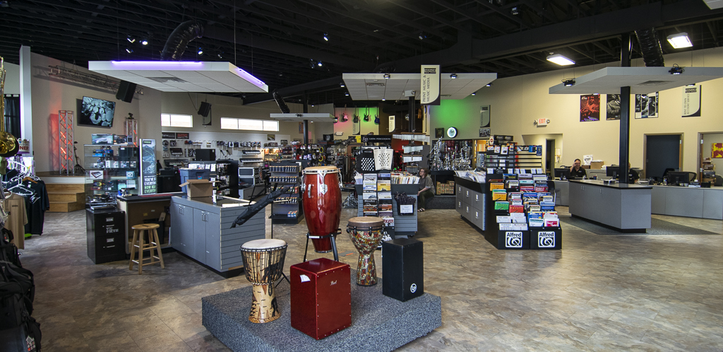 Muncie Music Center's open and airy showroom. Photo by: Mike Rhodes