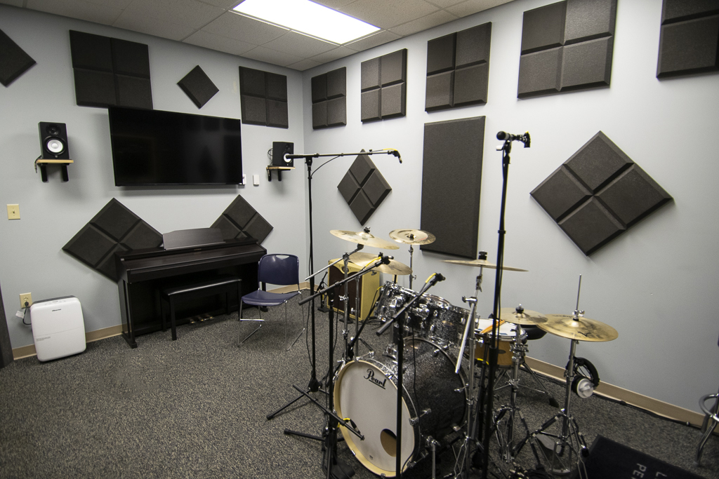 The recording studio area. The engineering booth is immediately to the right of this picture.