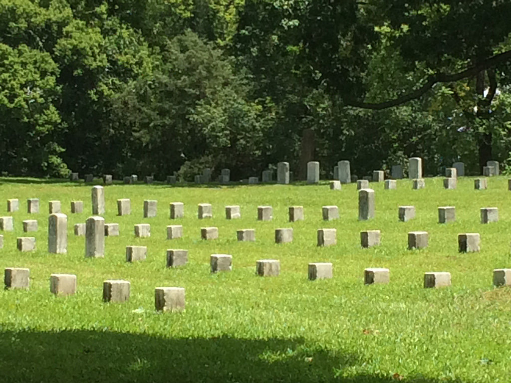 Soldiers' graves line a cemetery at Shiloh National Military Park. Photo by: Nancy Carlson