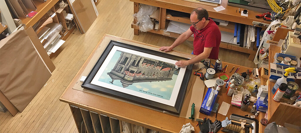Mark Perretta works on a large print for a corporate client. Mark is a musician and visual artist who has a great eye that understands color and materials. Photo provided