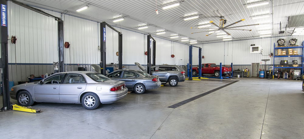 A view inside the clean and spacious automotive repair shop. Photo by: Mike Rhodes