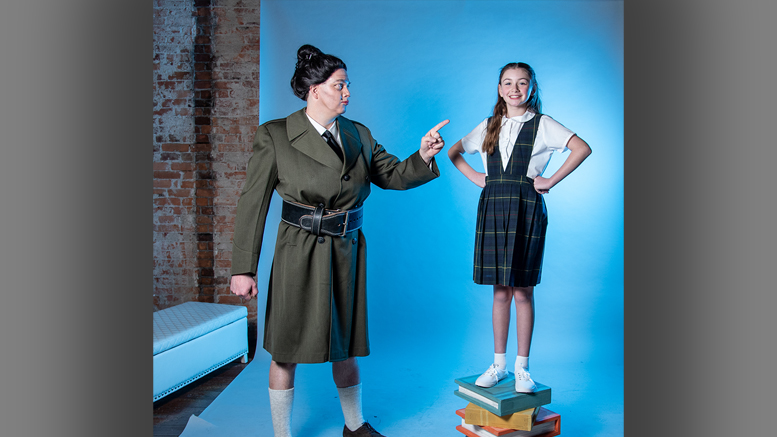 Eleanor Nolan as Matilda and Dr. Michael Williamson as Miss Trunchbull. Photo by: Amanda Kishel