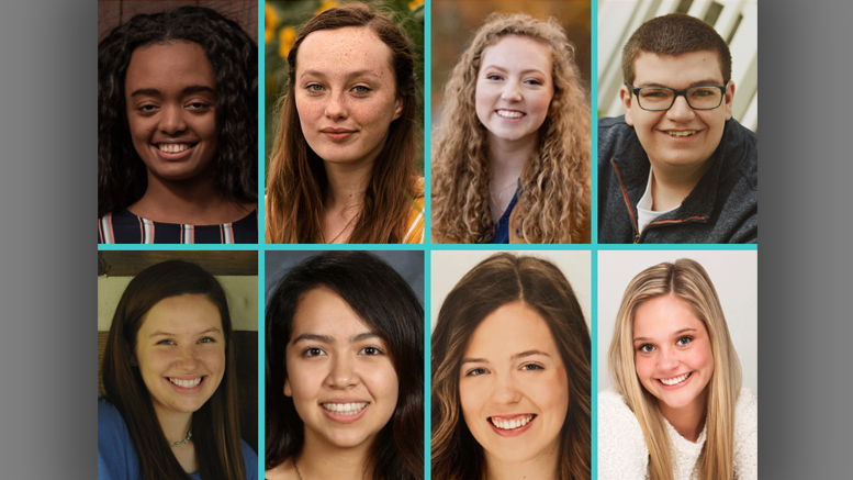 Pictured: Edom Alemayehu, Sarah Bailey, Ashlyn Craig, Ethan Crump (top row, left to right) Laurynn Gooding, Amelia Oñate, Alexis Quirk, Emma Schuck (bottom row, left to right)