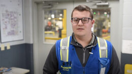 be Hunt, a manufacturing engineer at Magna Powertrain is pictured during a Youtube video where he describes his work at Magna Powertrain.