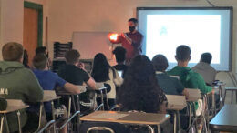 Ben Buehler captures the attention of his science students in his classroom. Photo provided