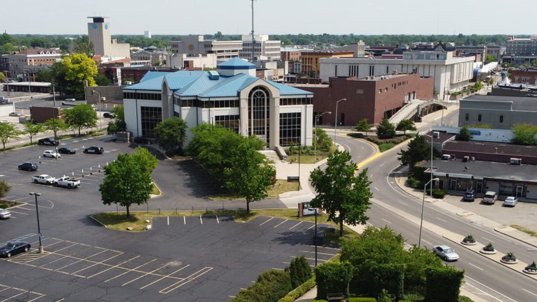 Aerial of Muncie City Hall in downtown Muncie. Photo by: Mike Rhodes