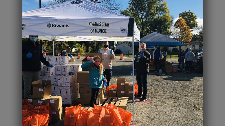 Volunteers from local Kiwanis, Altrusa, and Ball State University participated in the classroom supply event. Photo provided
